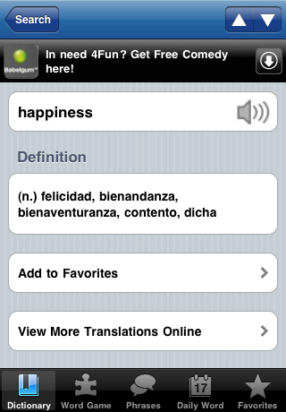 SpanishDict en un telefono Android.